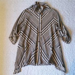 Moonlight Y&S XL Tan Black Stripe Button Blouse